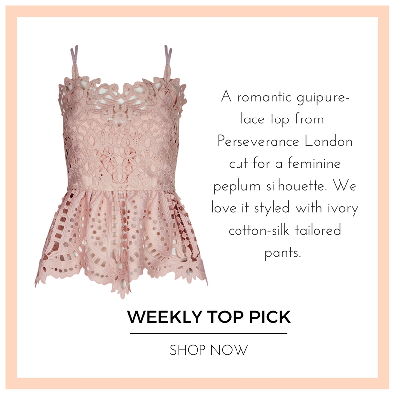 Weekly Top Pick - Pink lace top Perseverance London