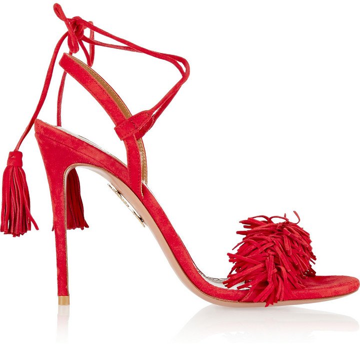 Red Wild Thing Fringed Suede Sandals