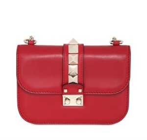 valentino-SMALL LOCK LEATHER SHOULDER BAG