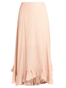Chloe – Satin-Back Crepe Midi Skirt Nude