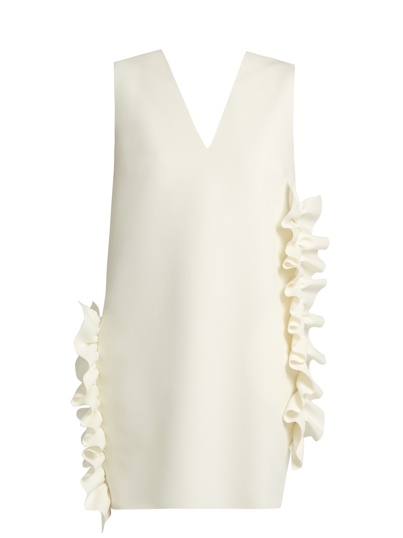 d164bdcf95fe MSGM – White V-Neck Dress with Ruffles