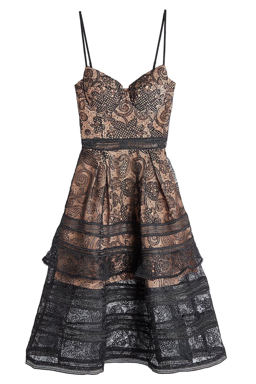 Self Portrait Black Lace Mini Dress Fashion Style Fan
