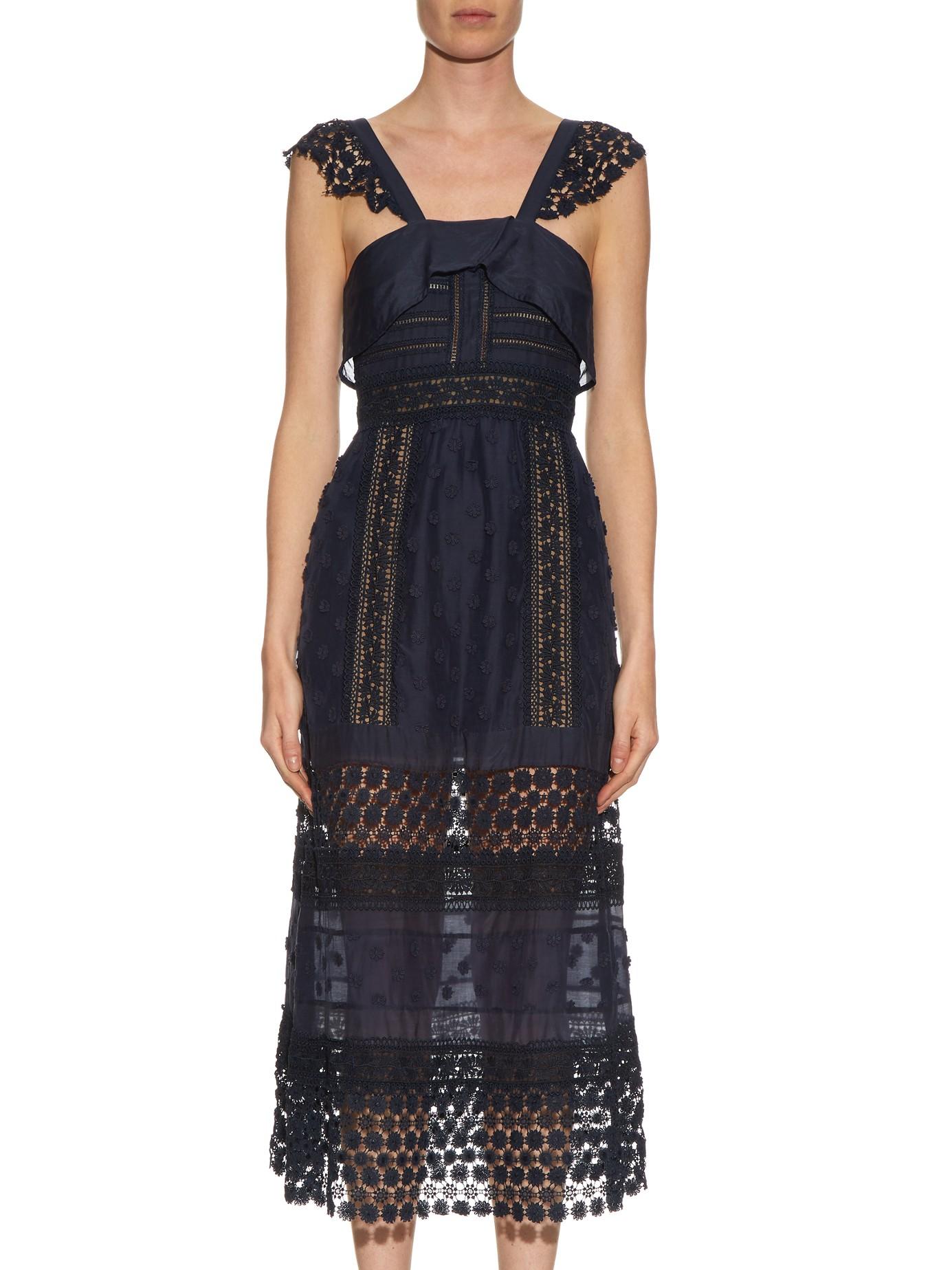 Self Portrait Bluebell Lace Midi Dress Fashion Style Fan