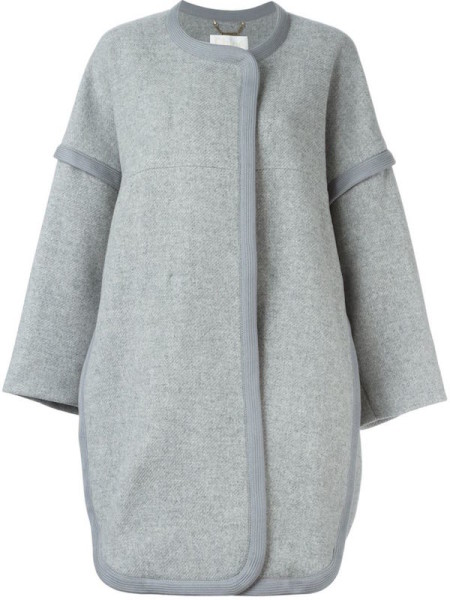 Chloe - Wool Cocoon Coat, Gray