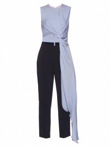Roksanda - Blue Silk Blend Draped Cut-Out Jumpsuit