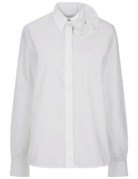 Victoria, Victoria Beckham - White Cotton Bow Collar Shirt