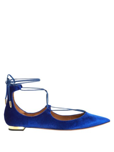 Aquazzura - Christy Velvet Flats Blue