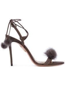 Aquazzura - Gray Suede and Mink Fur Wild Thing Sandals