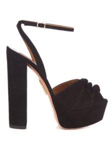 Aquazzura - Mira Knot Suede Llatform Sandals Black