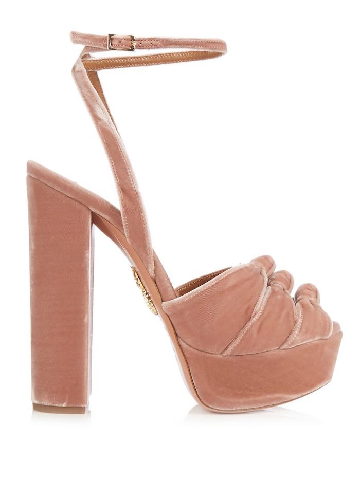 ca93401e3f7 Aquazzura - Mira Knot Velvet Platform Sandals Pink