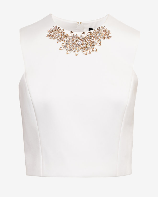 Home clothing tops cropped ted baker embellished cropped