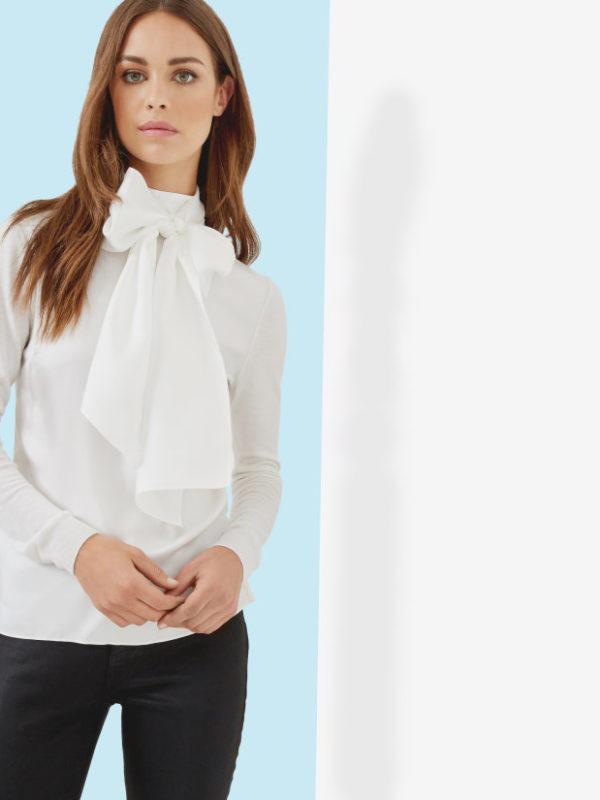 White Ruffled Blouses Long Sleeved