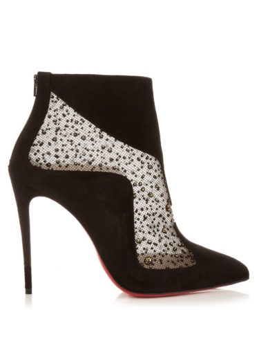 Christian Louboutin - Papillo 100mm Suede Ankle Boots - Black