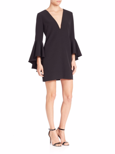 Milly – Ruffle Sleeve V-Neck Dress – Black