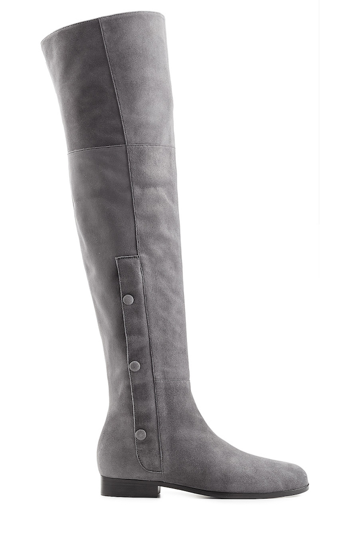 hardy suede the knee boots gray fashion