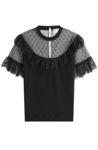 RED Valentino - Knit Top with Point D'esprit and Lace - Black