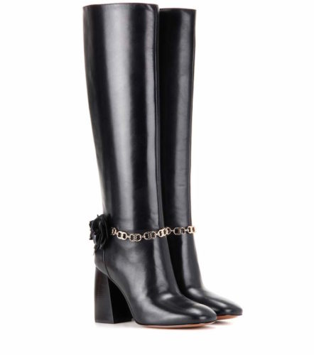 Tory Burch Blossom 90 Leather Boots Black