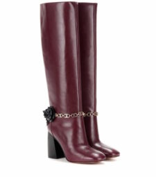 Tory Burch - Blossom Embellished Leather Knee-High Boots