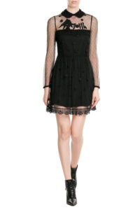 RED Valentino - Dress with Embroidered Point d'Esprit - Black