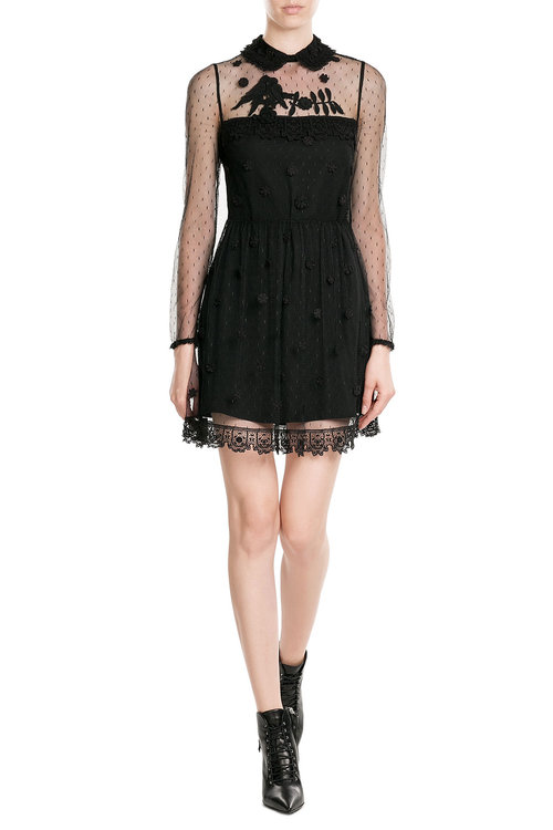 b7d5a3408e8fe RED Valentino - Dress with Embroidered Point d Esprit - Black ...