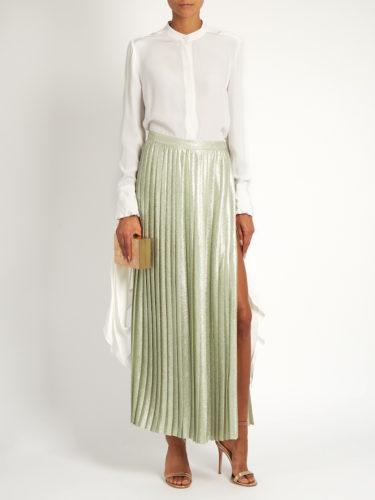 Adam Lippes - Metallic Pleated Wraparound Maxi Skirt