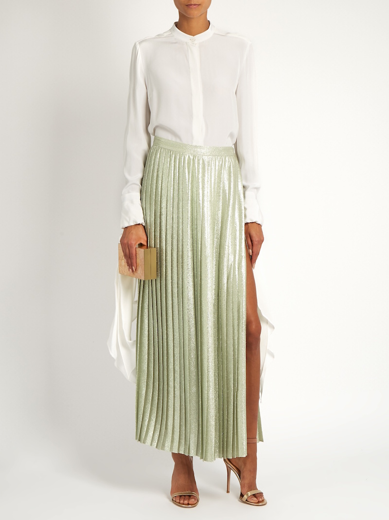 Adam Lippes Metallic Pleated Wraparound Maxi Skirt