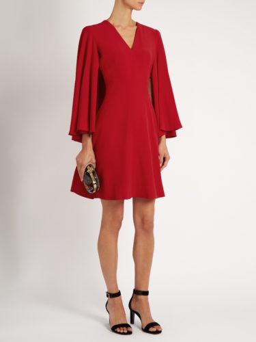 Alexander McQueen - V-neck Leaf-Crepe Cape Dress - Red