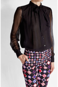 Diane Von Furstenberg - Silk Blouse with Self-Tie Bow - Black