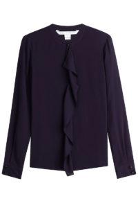 Diane Von Furstenberg - Silk Ruffle Front Shirt - Navy