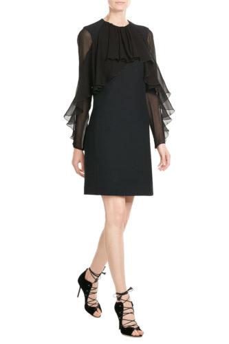 Giambattista Valli - Dress with Chiffon Sleeves - Black