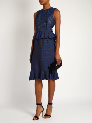 Lanvin - Ruffled Jacquard Dress - Blue