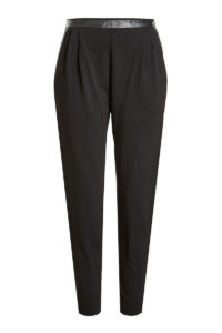 Max Mara - Tapered Pants with Leather - Black