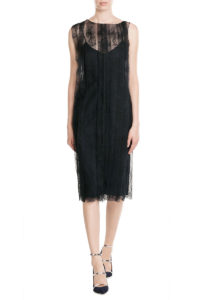 Nina Ricci - Slip Dress with Lace Overlay - Black