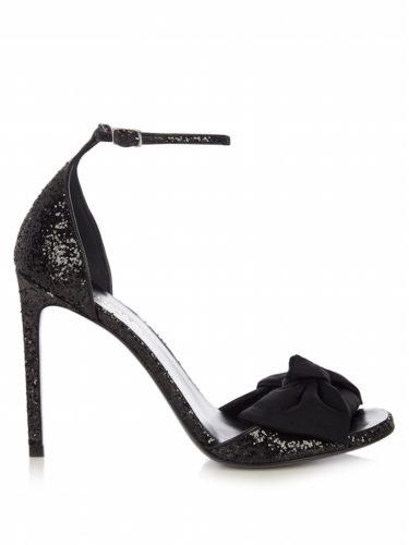 Saint Laurent - Jane Bow-Detail Glitter Sandals - Black