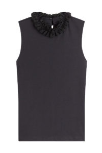 See By Chloé - Sleeveless Cotton Top with Ruffled Neck