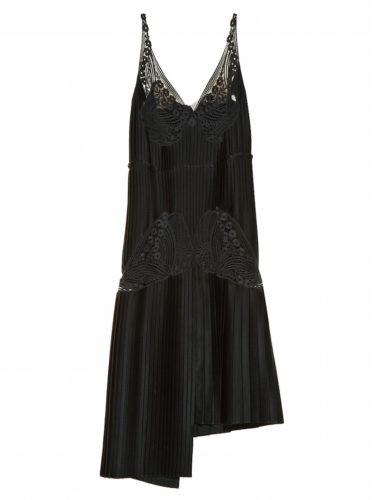 Stella McCartney - Lace and Pleated-Satin Dress - Black