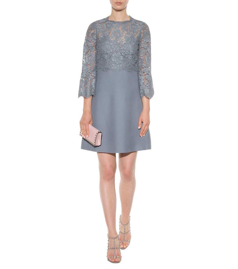Home clothing dresses valentino lace trimmed wool and silk