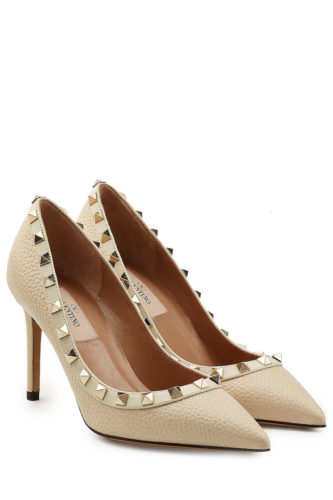 Valentino - Rockstud Leather Pumps - Light Beige