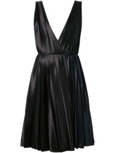 Cedric Charlier - Pleated Plunging Neck Dress - Black