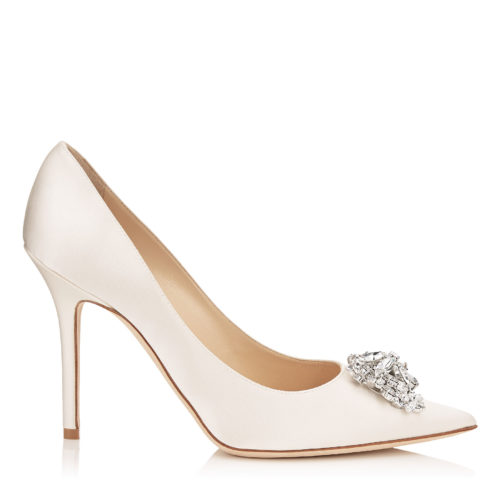 Jimmy Choo - ABEL Ivory Satin Pointy Toe Pumps with Crystal Detail