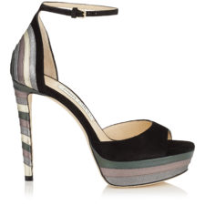 Jimmy Choo - MAX 120 Black Suede and Metallic Nappa Mix Platform Sandals