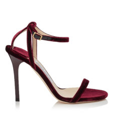 Jimmy Choo - MINNY 100 Bordeaux Velvet Sandals