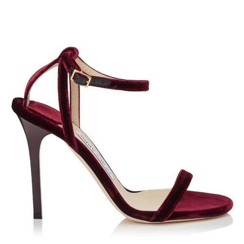 Jimmy Choo - MINNY 100 Bordeaux Velvet Sandals