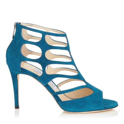 Jimmy Choo - REN 85 Midnight Blue Suede Sandals