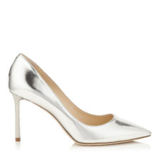 Jimmy Choo - ROMY 85 Silver Mirror Leather Pointy Toe Pumps