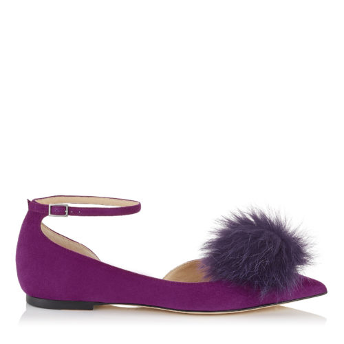 Jimmy Choo - ROSA FLAT Madeline Suede Pointy Toe Pumps with Clip on Pom Poms