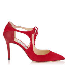 Jimmy Choo - VANESSA 85 Red Suede and Nappa Pointy Toe Pumps