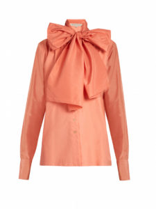 Mafalda von Hessen - Neck-tie Silk and Cotton-Poplin Blouse