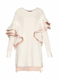 Sies Marjan- Ruffled Satin-Backed Striped Top