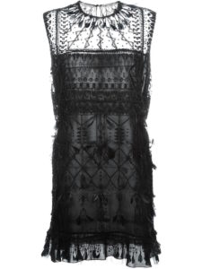 Valentino - Feather and Bead Embellished Dress - Black
